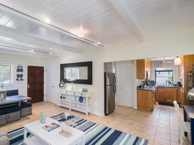 Living Room - Welcome to Stinson Beach! Your sunlit gound-level getaway has tiles floors and chic beach-inspired furnishings.