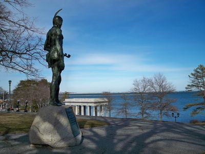 Indian Statue overlooking Plymouth Rock and Harbor