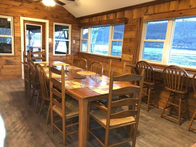 Newly expanded dining room with seating for 13.  Stunning views of the river!