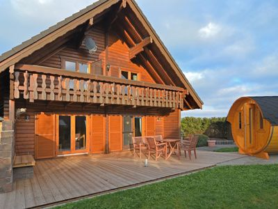 """Photo for Exclusive holiday home in the Sauerland with """"sleeping barrel"""", balcony, garden and terrace"""