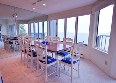 Dinning room seating up to 8 overlooking lake MI.