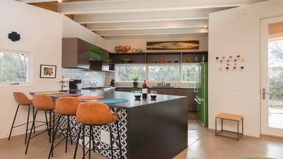 Open concept kitchen with breakfast counter
