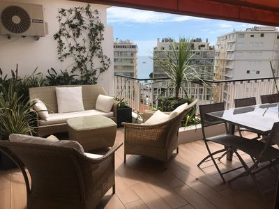 Photo for 1 bedroom-apartment, sea view 180 meters from the Croisette with parking