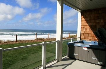 Private patio with Hot tub - Enjoy the Private Deck and Hot Tub with a full ocean view!