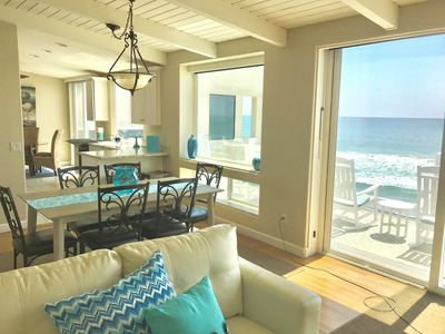 Living room and kitchen open to ocean and beach!