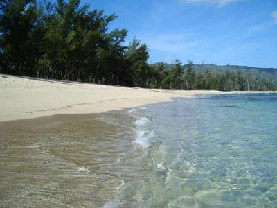 The beach directly below the LOST Ranch with pristine white sand, never crowded