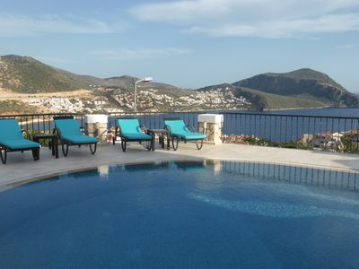view from the pool terrace towards Kalkan old town