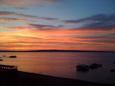 Stunning sunset from our personal deck overlooking the East Bay.