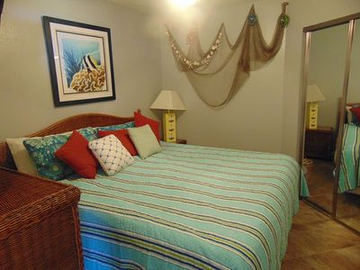 """King sized bed and 32"""" TV in master bedroom"""