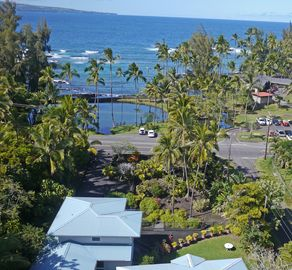 Aerial view overlooking private yard and beach park.