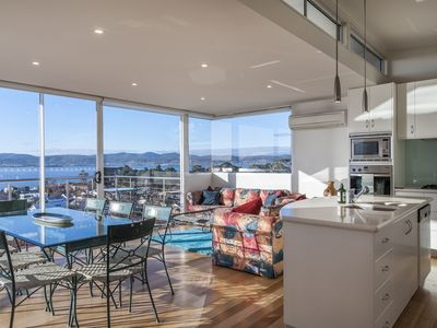 Sandy Bay Sensation, a luxury home with river, mountain and Hobart city views.