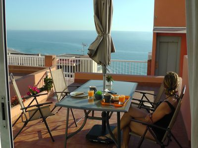 Photo for Enjoy breakfast with a glass of fresh juice with Mediterranean views