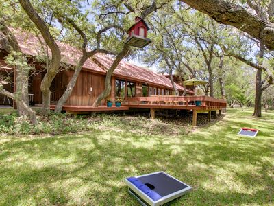 Photo for Gorgeous cabin w/ pool, large yard & separate studio - dogs OK!