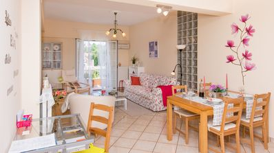 Photo for Family apartment near Corfu Town. Spacious & quiet with parking and patio