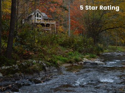 Photo for RUSTIC MEETS LUXE on trout stream-5 miles from App.Trail-35 min from Asheville