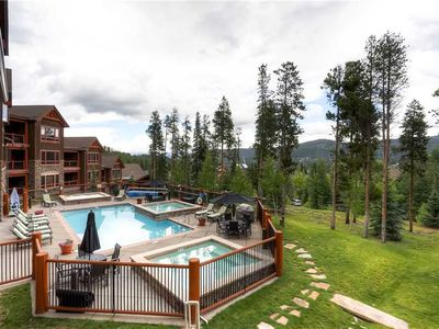 Photo for Bright condo w/ gorgeous summer time views of mountains & town, outdoor pool