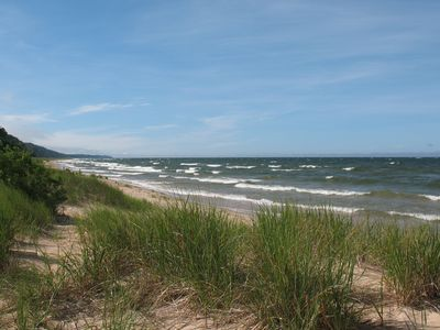 Photo for Cottage on Private, Sandy, Lake Michigan Beach