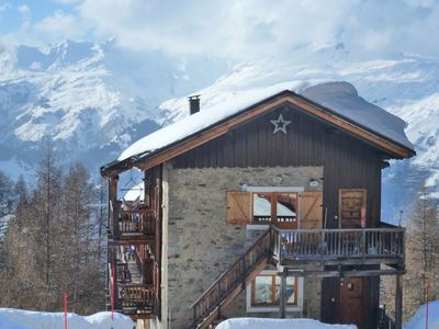 Photo for Les Arcs 1600, Duplex, 101m2, old chalet, fireplace, 4ch, 9p, blue slope at 50m