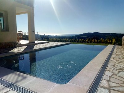 Photo for Lovely villa on a hill with panoramic views of the sea