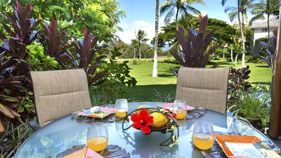 Enjoy breakfast on the lanai with golf course views.
