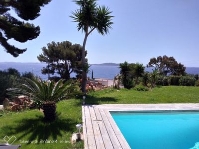 Photo for Holiday house 8 people, private pool, Panoramic sea view at 200 m from the beach