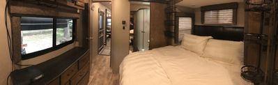 king size bed, private entrance to bath from bedroom, 2nd AC  in bedroom