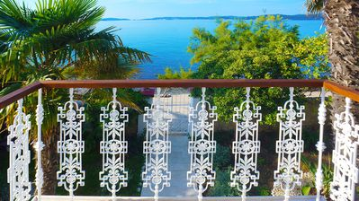 Photo for Seafront Villa Agnes, old captains house, beachfront villa with private pool