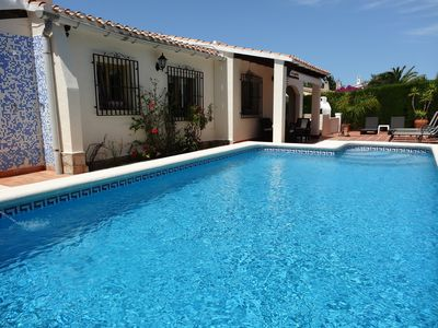 Photo for Villa, La Sella, flat garden, private pool, air con, wifi, sleeps 5 clean includ
