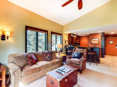Photo for 2nd-floor home w/shared pool & hot tub/wood-burning fireplace - near lifts!