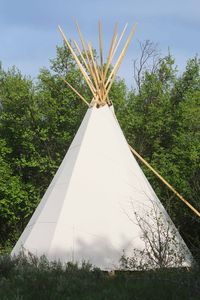 Tipi camping creekside on  a. pristine mountain creek.