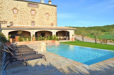 The pool and terrace area is perfect for a family