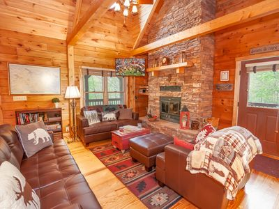 Photo for 4BR Upscale Mtn. Log Cabin, Private, Hot Tub, Walk from Waterfall, Near Skiing
