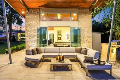 Exterior Landscape Lighting and Sound System Create a Tranquil Ambiance