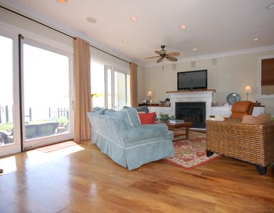 Great room with gas fireplace, and spectacular views of the Chesapeake Bay