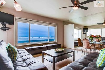 New Plasma TV and doorway leading to Boardwalk, Mission Beach, San Diego, Beach House Rental