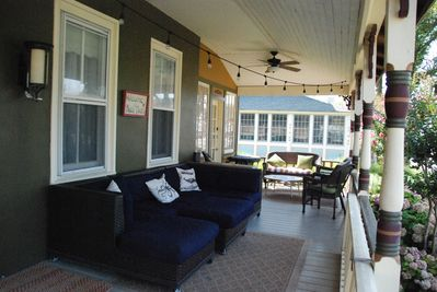 Large sofa for napping and lounging on the porch