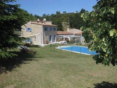 Photo for Classic stone farmhouse with heatable pool and tennis court, sleeps 15