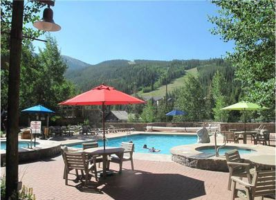 Two hot tubs and heated pool. Overlooking the runs and mountains.