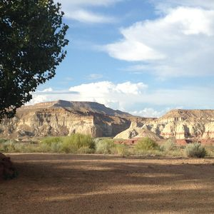 """view out the front door. Beautiful rock formations part of the """"Grand Staircase"""