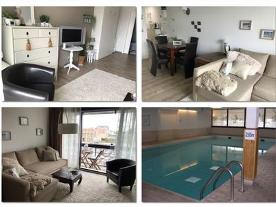 Photo for Studio on the seafront with indoor swimming pool, three bicycles, wifi, travel bed