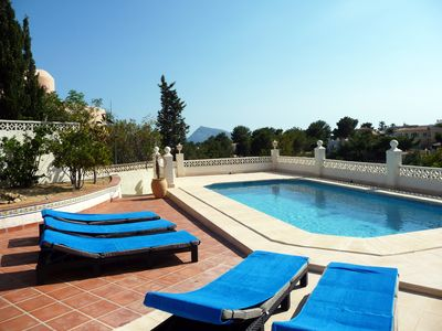 Photo for Villa standing sea and mountain view, private pool, airco, wifi