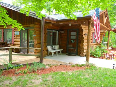 Photo for Wooded Private - True Log Cabin on Pristine Spider Lake