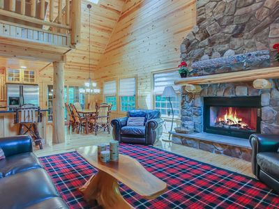 Photo for Log cabin on a wooded cul-de-sac w/ private hot tub and shared pool!