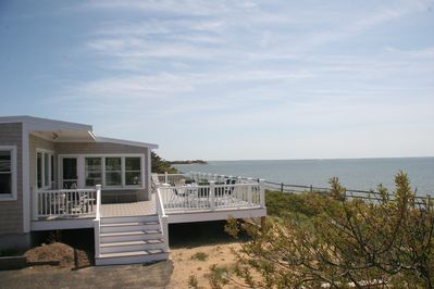 Rear huge deck overlooks Cape Cod Bay Beautifully furnished for sunning & dining