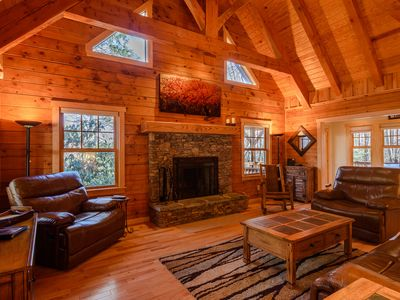 Photo for 3BR Elegant Cabin, Wooded, Mountain Creek, Close to Banner Elk, Grandfather Mtn, Hiking, Skiing
