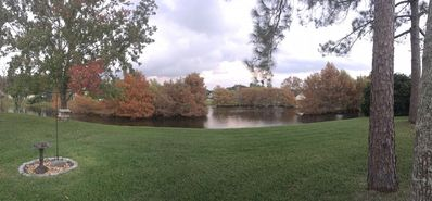 Backyard with peaceful lake during Fall