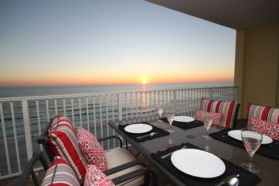 Sunset Dining on Gulf Front Balcony
