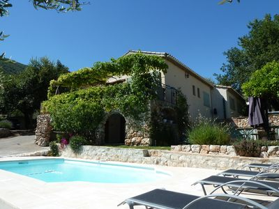 Photo for Pleasant villa with pool overlooking village near Nice Côte d'Azur