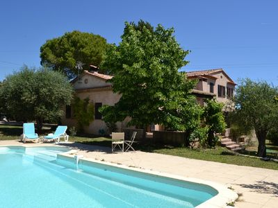 Photo for Double quiet villa with pool in olive grove 10 minutes from Cannes