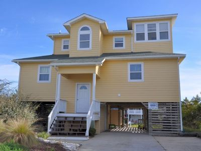 Photo for 433 - Water Front Nags Head Cove Rental with Multi-Level Decking and Hot Tub